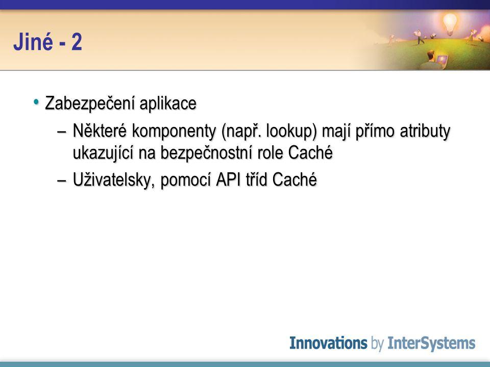 Jiné - 2 Zabezpečení aplikace Zabezpečení aplikace –Některé komponenty (např.