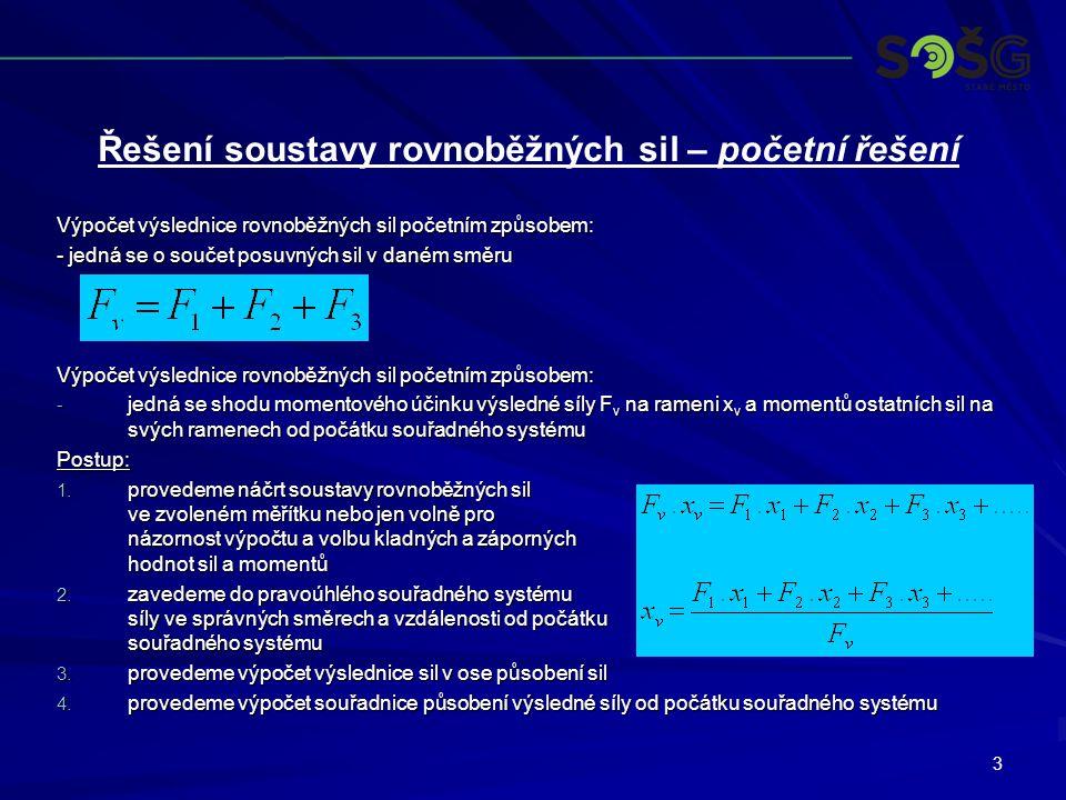 3 Výpočet výslednice rovnoběžných sil početním způsobem: - jedná se o součet posuvných sil v daném směru Výpočet výslednice rovnoběžných sil početním
