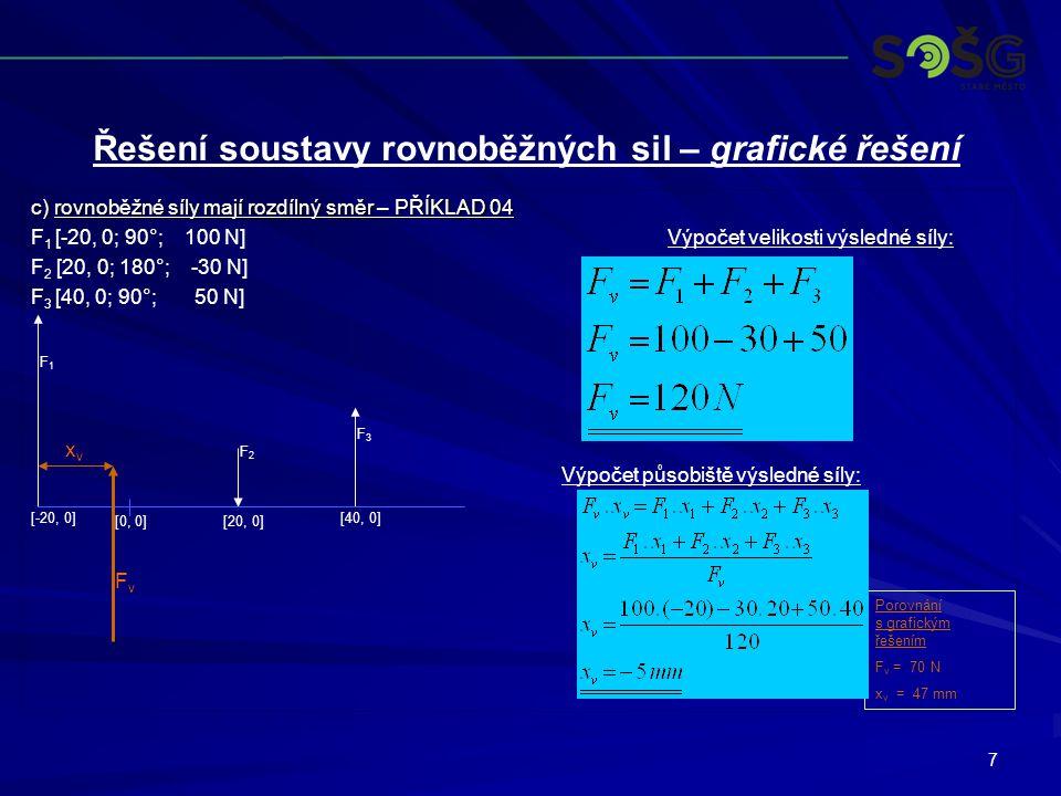 7 c) rovnoběžné síly mají rozdílný směr – PŘÍKLAD 04 F 1 [-20, 0; 90°; 100 N]Výpočet velikosti výsledné síly: F 2 [20, 0; 180°; -30 N] F 3 [40, 0; 90°