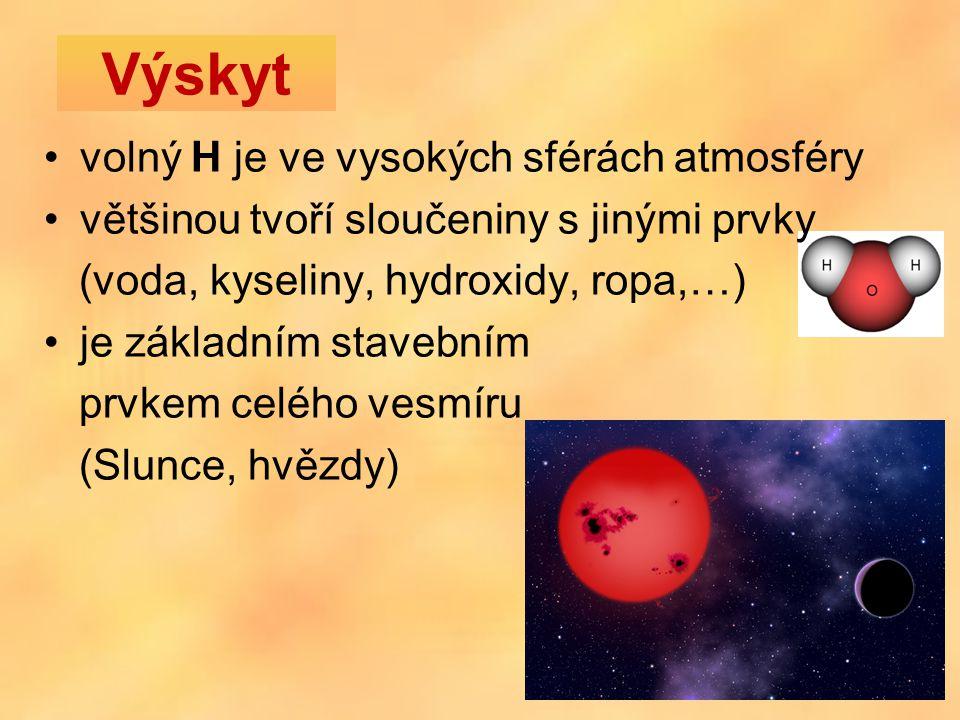 volný H je ve vysokých sférách atmosféry většinou tvoří sloučeniny s jinými prvky (voda, kyseliny, hydroxidy, ropa,…) je základním stavebním prvkem celého vesmíru (Slunce, hvězdy) Výskyt