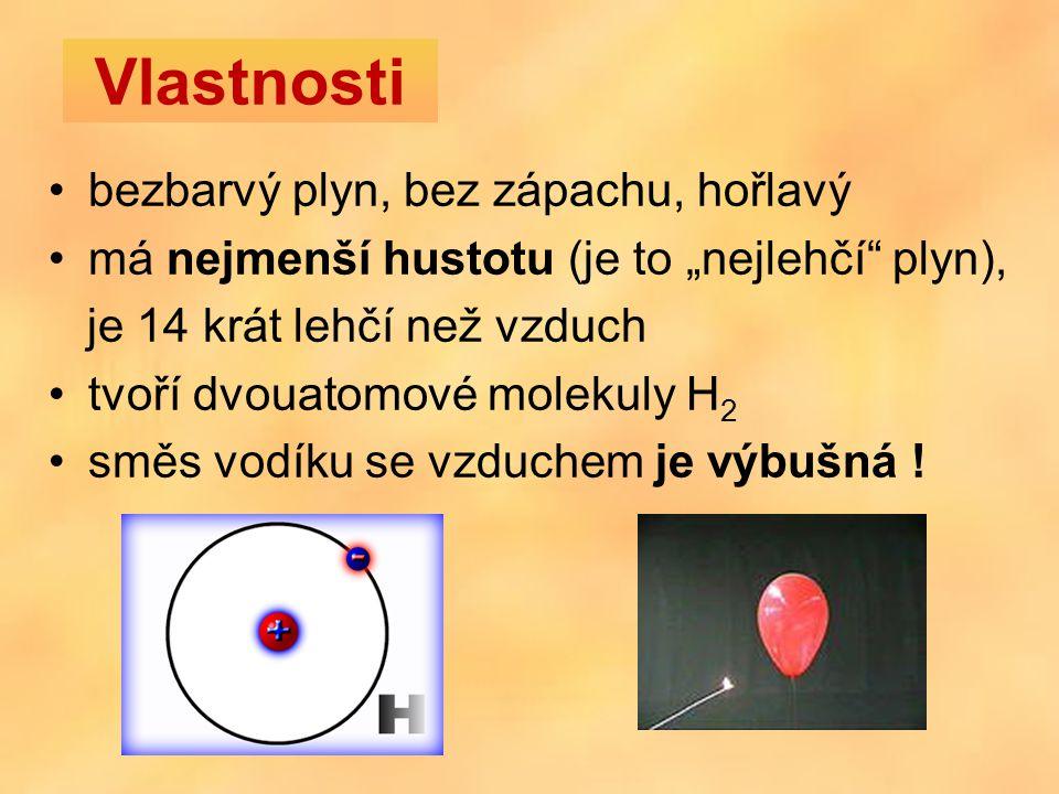 """bezbarvý plyn, bez zápachu, hořlavý má nejmenší hustotu (je to """"nejlehčí plyn), je 14 krát lehčí než vzduch tvoří dvouatomové molekuly H 2 směs vodíku se vzduchem je výbušná ."""