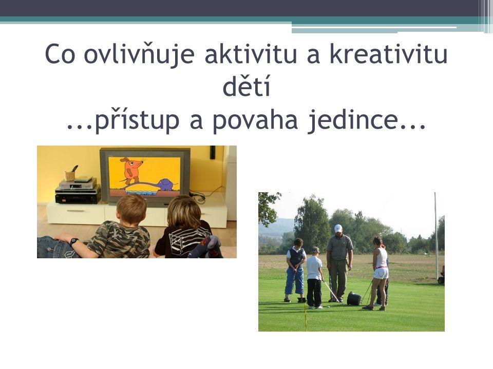 Co ovlivňuje aktivitu a kreativitu dětí...přístup a povaha jedince...