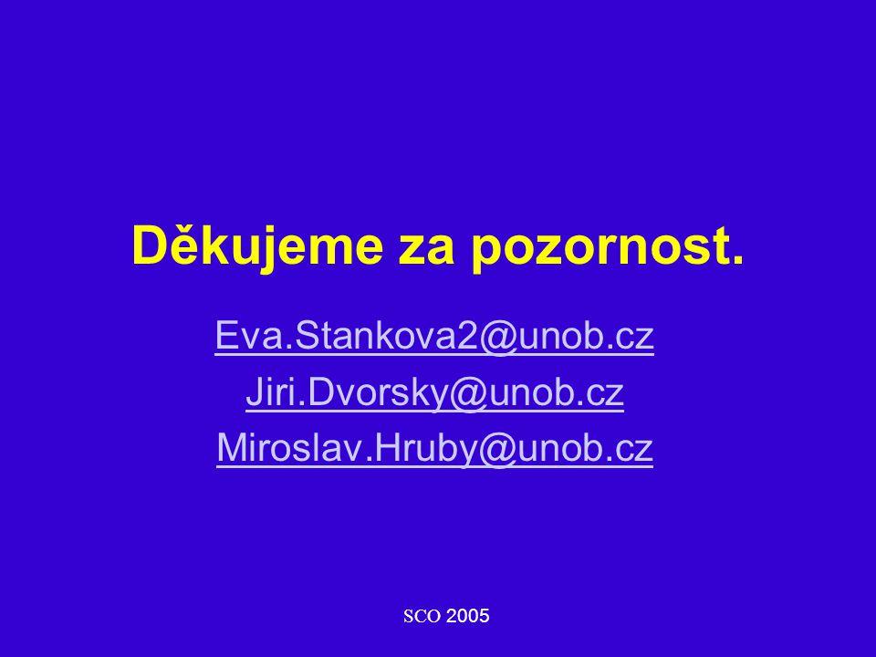 Děkujeme za pozornost. Eva.Stankova2@unob.cz Jiri.Dvorsky@unob.cz Miroslav.Hruby@unob.cz SCO 2005