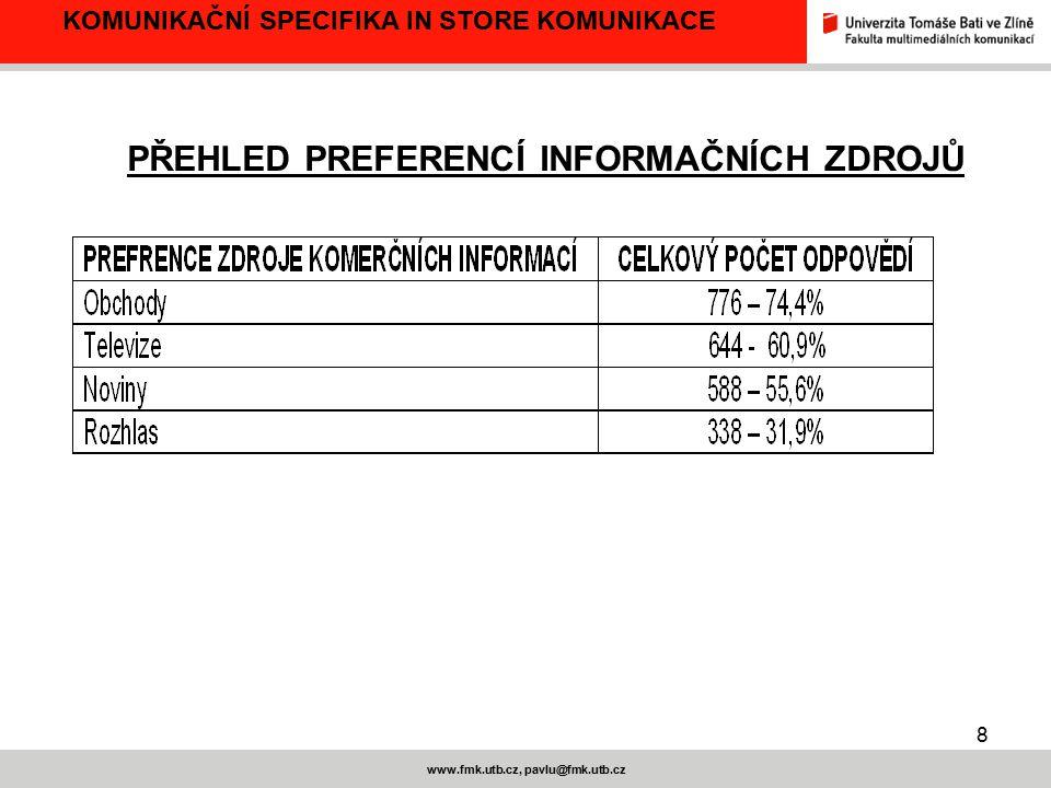 8 www.fmk.utb.cz, pavlu@fmk.utb.cz KOMUNIKAČNÍ SPECIFIKA IN STORE KOMUNIKACE PŘEHLED PREFERENCÍ INFORMAČNÍCH ZDROJŮ