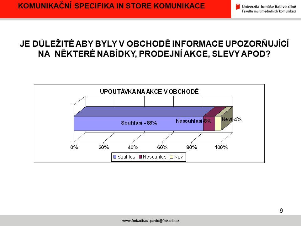 9 www.fmk.utb.cz, pavlu@fmk.utb.cz KOMUNIKAČNÍ SPECIFIKA IN STORE KOMUNIKACE JE DŮLEŽITÉ ABY BYLY V OBCHODĚ INFORMACE UPOZORŇUJÍCÍ NA NĚKTERÉ NABÍDKY,