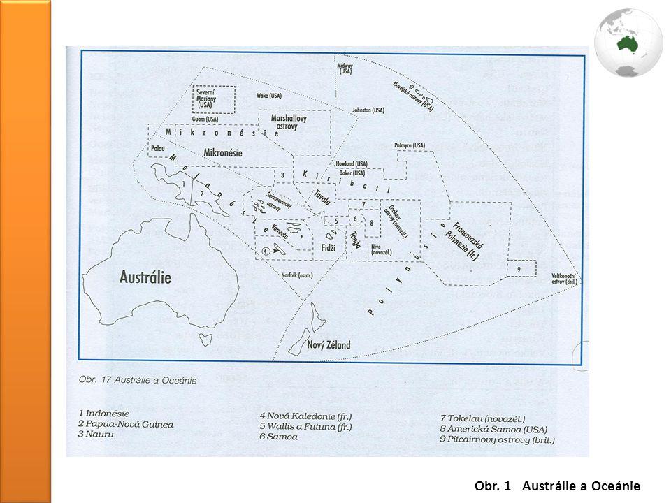 Obr. 1 Austrálie a Oceánie