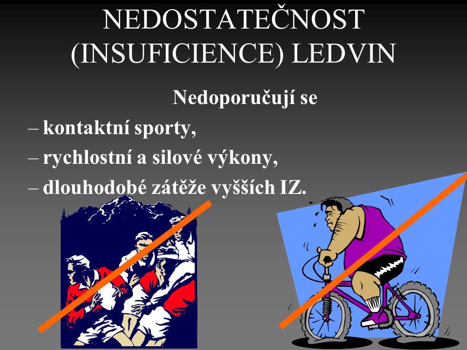 NEDOSTATEČNOST (INSUFICIENCE) LEDVIN Nedoporučují se –kontaktní sporty, –rychlostní a silové výkony, –dlouhodobé zátěže vyšších IZ.