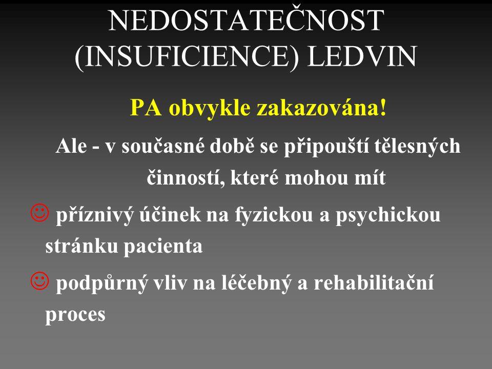 NEDOSTATEČNOST (INSUFICIENCE) LEDVIN PA obvykle zakazována.