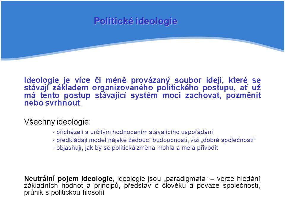 Ideologie je více či méně provázaný soubor idejí, které se stávají základem organizovaného politického postupu, ať už má tento postup stávající systém