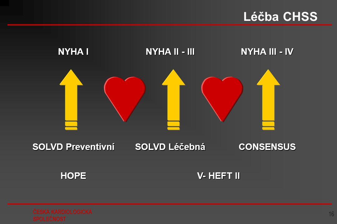 ČESKÁ KARDIOLOGICKÁ SPOLEČNOST 16 Léčba CHSS NYHA I NYHA II - III NYHA III - IV SOLVD Preventivní SOLVD Léčebná CONSENSUS HOPE V- HEFT II