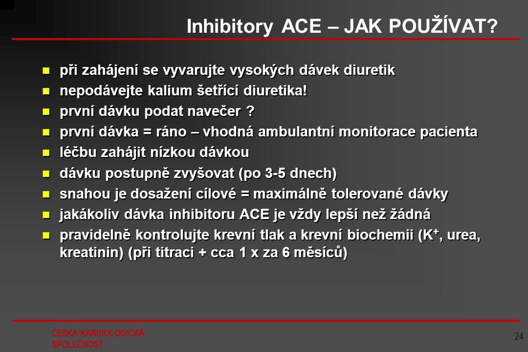 ČESKÁ KARDIOLOGICKÁ SPOLEČNOST 24 Inhibitory ACE – JAK POUŽÍVAT? při zahájení se vyvarujte vysokých dávek diuretik při zahájení se vyvarujte vysokých