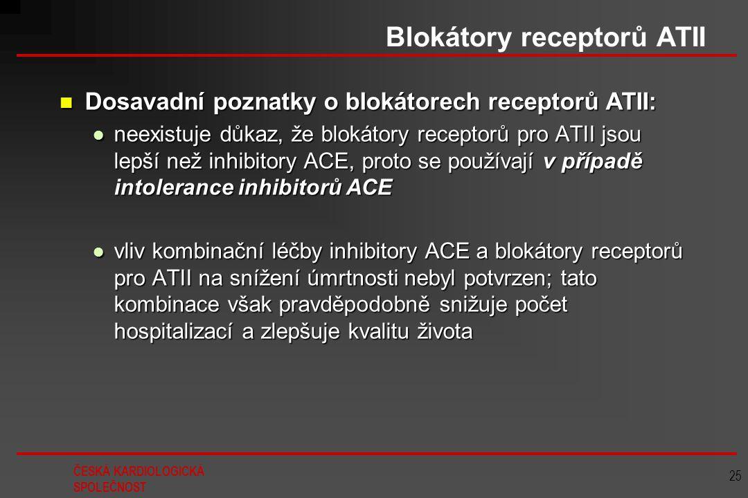 ČESKÁ KARDIOLOGICKÁ SPOLEČNOST 25 Blokátory receptorů ATII Dosavadní poznatky o blokátorech receptorů ATII: Dosavadní poznatky o blokátorech receptorů