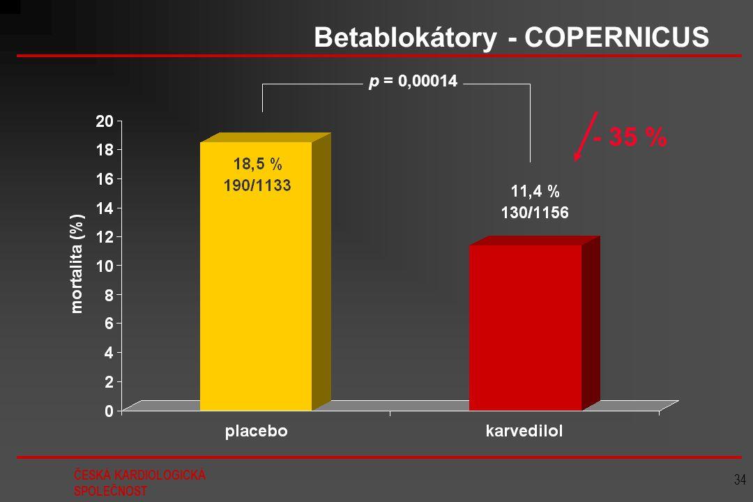 ČESKÁ KARDIOLOGICKÁ SPOLEČNOST 34 Betablokátory - COPERNICUS p = 0,00014 - 35 %