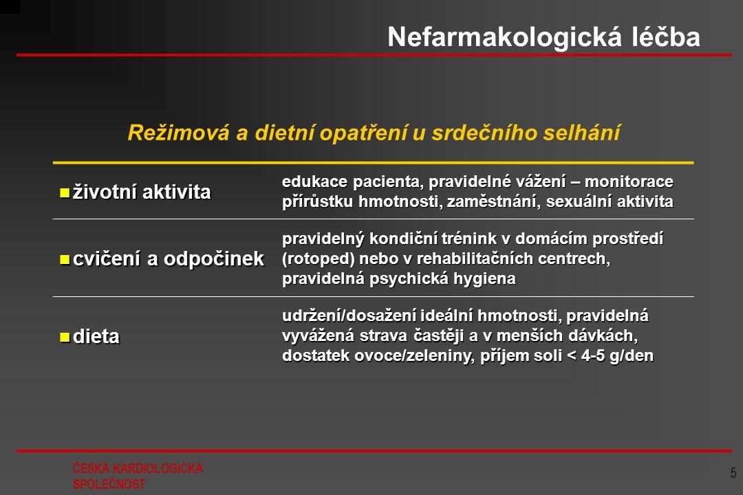 ČESKÁ KARDIOLOGICKÁ SPOLEČNOST 5 Nefarmakologická léčba Režimová a dietní opatření u srdečního selhání životní aktivita životní aktivita edukace pacie