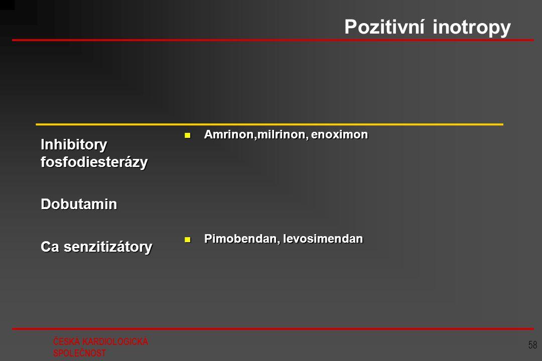 ČESKÁ KARDIOLOGICKÁ SPOLEČNOST 58 Pozitivní inotropy Inhibitory fosfodiesterázy Dobutamin Ca senzitizátory Amrinon,milrinon, enoximon Amrinon,milrinon