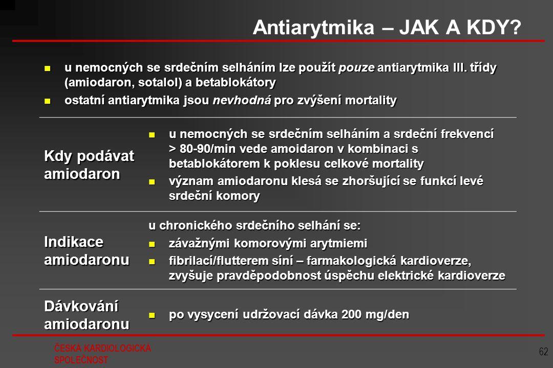 ČESKÁ KARDIOLOGICKÁ SPOLEČNOST 62 Antiarytmika – JAK A KDY? u nemocných se srdečním selháním lze použít pouze antiarytmika III. třídy (amiodaron, sota