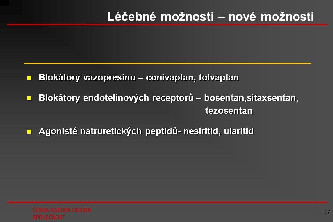 ČESKÁ KARDIOLOGICKÁ SPOLEČNOST 67 Léčebné možnosti – nové možnosti Agonisté natruretických peptidů- nesiritid, ularitid Agonisté natruretických peptid