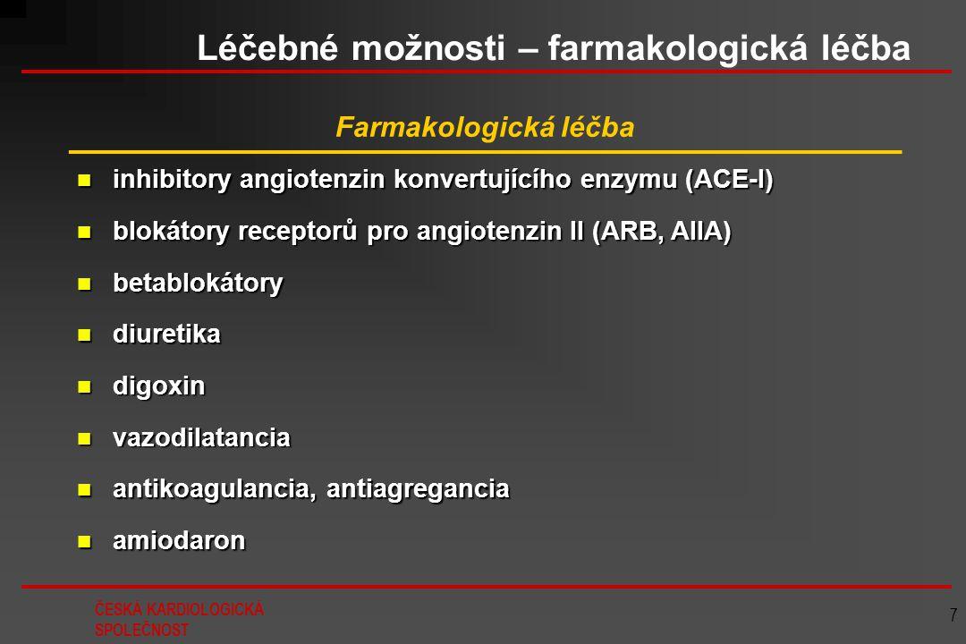 ČESKÁ KARDIOLOGICKÁ SPOLEČNOST 7 Léčebné možnosti – farmakologická léčba Farmakologická léčba inhibitory angiotenzin konvertujícího enzymu (ACE-I) inh