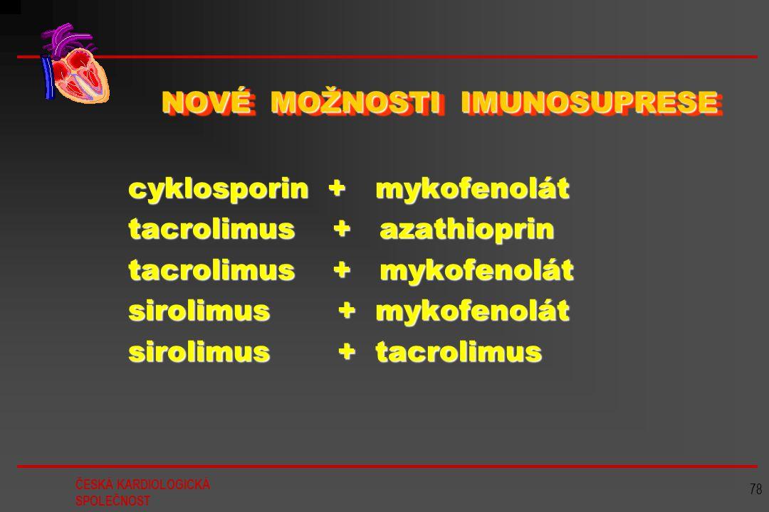 ČESKÁ KARDIOLOGICKÁ SPOLEČNOST 78 NOVÉ MOŽNOSTI IMUNOSUPRESE cyklosporin + mykofenolát cyklosporin + mykofenolát tacrolimus + azathioprin tacrolimus +