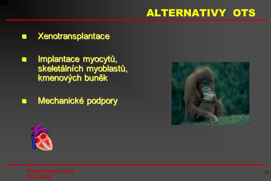 ČESKÁ KARDIOLOGICKÁ SPOLEČNOST 79 ALTERNATIVY OTS Xenotransplantace Xenotransplantace Implantace myocytů, skeletálních myoblastů, kmenových buněk Impl