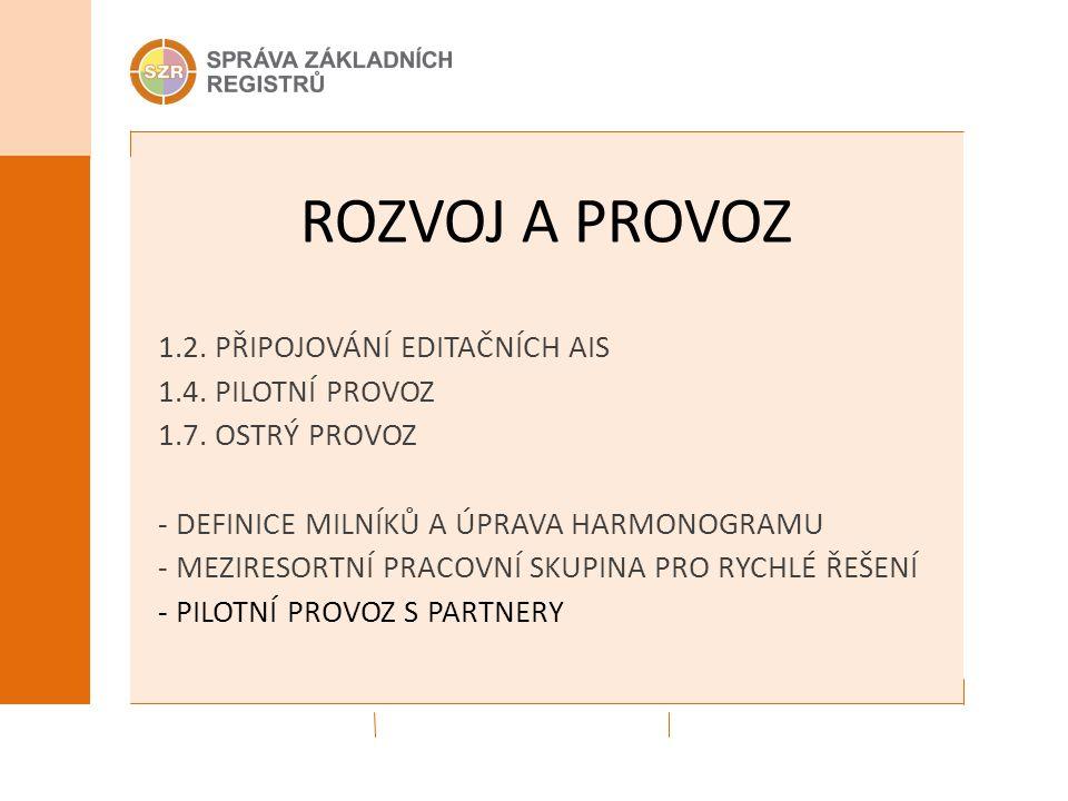 ROZVOJ A PROVOZ 1.2.PŘIPOJOVÁNÍ EDITAČNÍCH AIS 1.4.