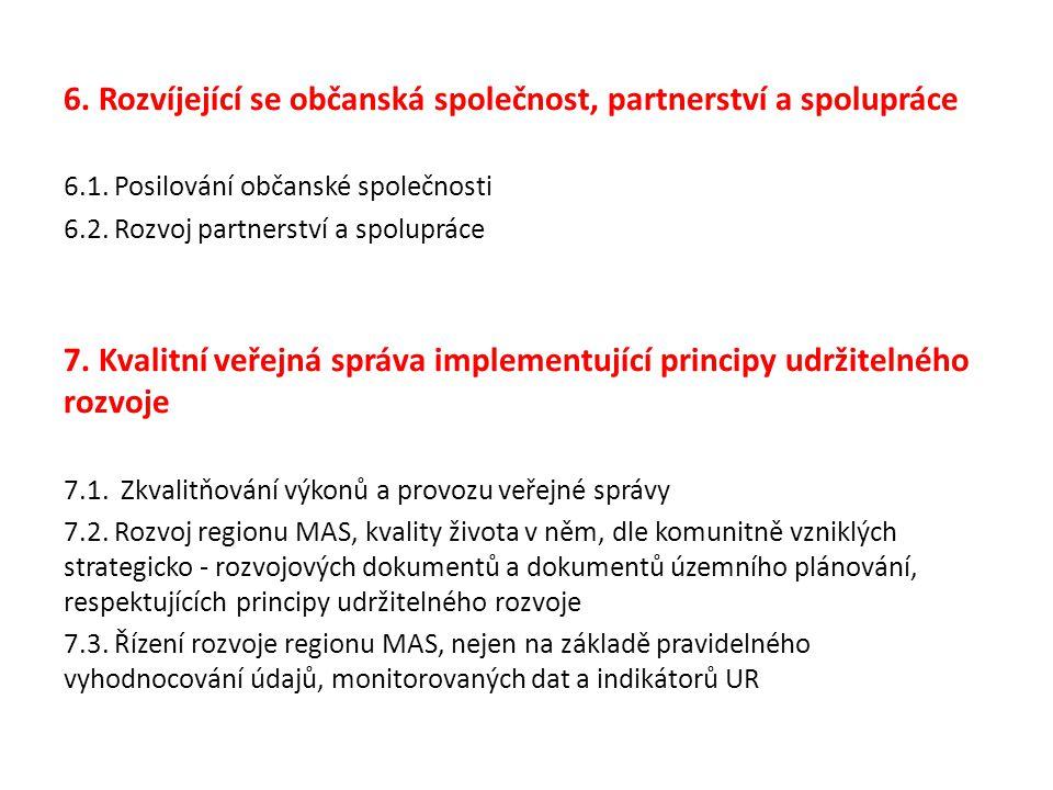 6. Rozvíjející se občanská společnost, partnerství a spolupráce 6.1.