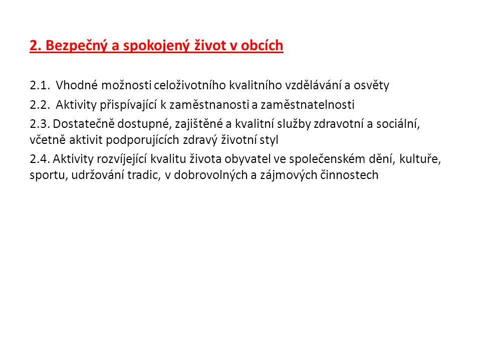2. Bezpečný a spokojený život v obcích 2.1.