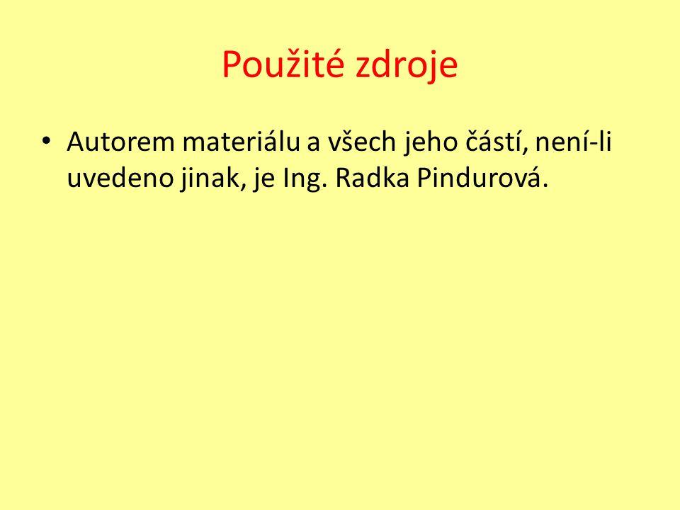 Použité zdroje Autorem materiálu a všech jeho částí, není-li uvedeno jinak, je Ing. Radka Pindurová.