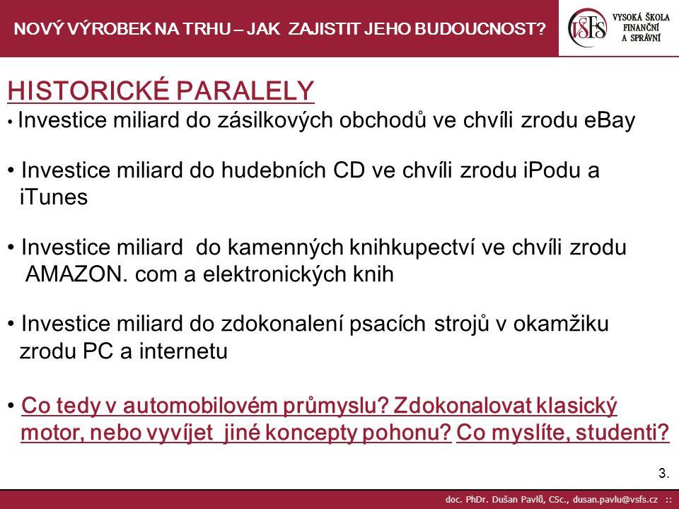 3.3. doc. PhDr. Dušan Pavlů, CSc., dusan.pavlu@vsfs.cz :: NOVÝ VÝROBEK NA TRHU – JAK ZAJISTIT JEHO BUDOUCNOST? HISTORICKÉ PARALELY Investice miliard d