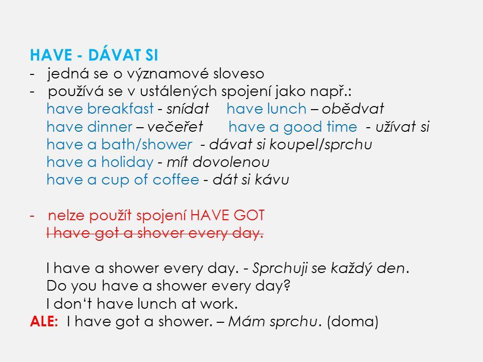 HAVE -DÁVAT SI - použití v průběhovém čase He s having a shower at the moment.