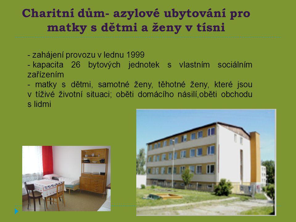 Charitní dům- azylové ubytování pro matky s dětmi a ženy v tísni - zahájení provozu v lednu 1999 - kapacita 26 bytových jednotek s vlastním sociálním