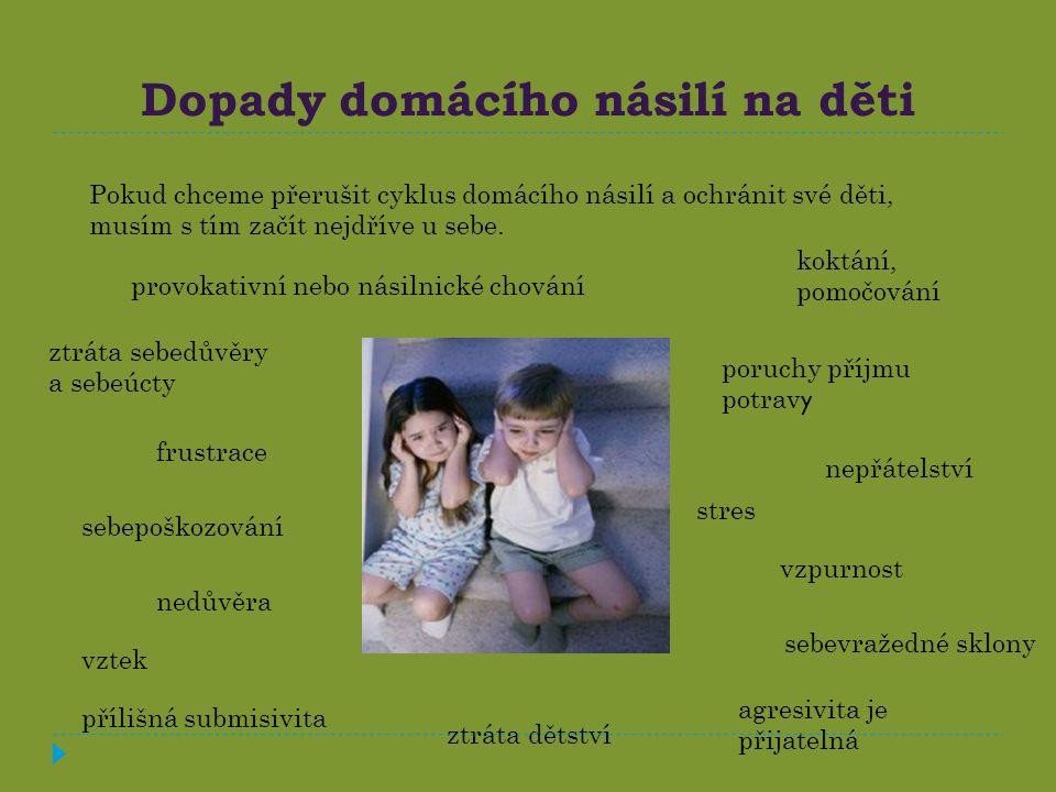 Dopady domácího násilí na děti Pokud chceme přerušit cyklus domácího násilí a ochránit své děti, musím s tím začít nejdříve u sebe.
