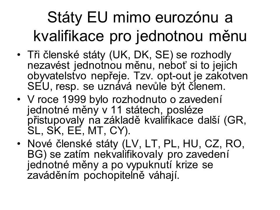 Státy EU mimo eurozónu a kvalifikace pro jednotnou měnu Tři členské státy (UK, DK, SE) se rozhodly nezavést jednotnou měnu, neboť si to jejich obyvatelstvo nepřeje.