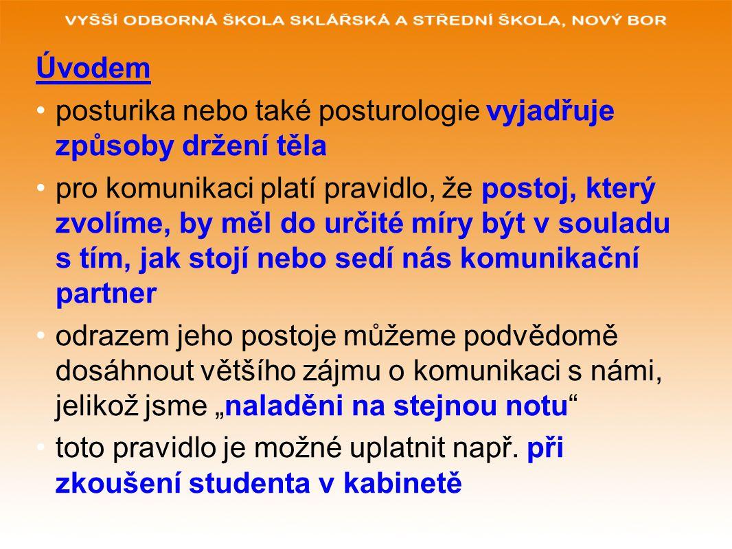 Úvodem posturika nebo také posturologie vyjadřuje způsoby držení těla pro komunikaci platí pravidlo, že postoj, který zvolíme, by měl do určité míry b