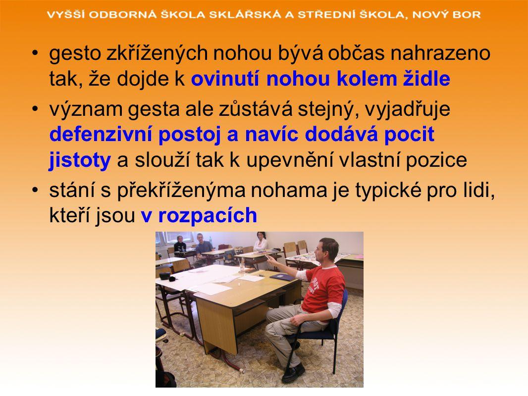 gesto zkřížených nohou bývá občas nahrazeno tak, že dojde k ovinutí nohou kolem židle význam gesta ale zůstává stejný, vyjadřuje defenzivní postoj a n