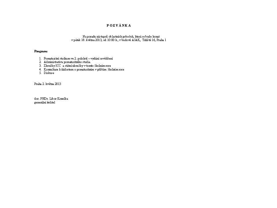 Otázky k pozvánkám: 1.Pozvánky jsou určeny: a) k inzerci b) pozvání na porady c) reklama 2.