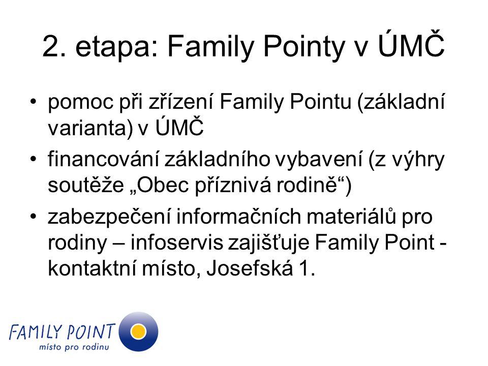 """2. etapa: Family Pointy v ÚMČ pomoc při zřízení Family Pointu (základní varianta) v ÚMČ financování základního vybavení (z výhry soutěže """"Obec přízniv"""