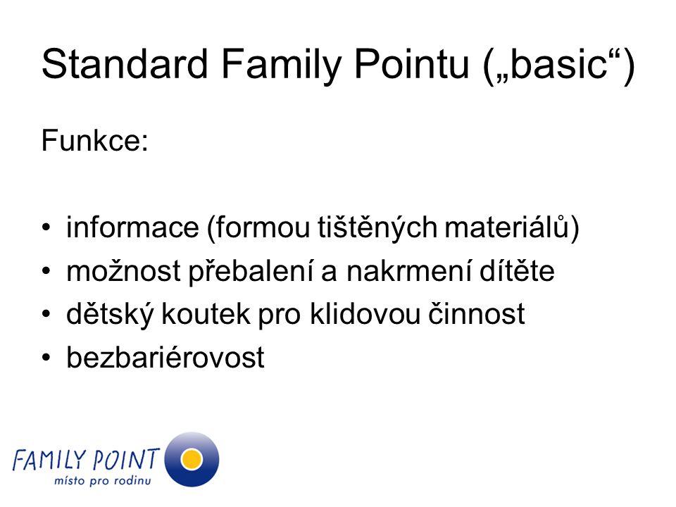 """Standard Family Pointu (""""basic ) Funkce: informace (formou tištěných materiálů) možnost přebalení a nakrmení dítěte dětský koutek pro klidovou činnost bezbariérovost"""