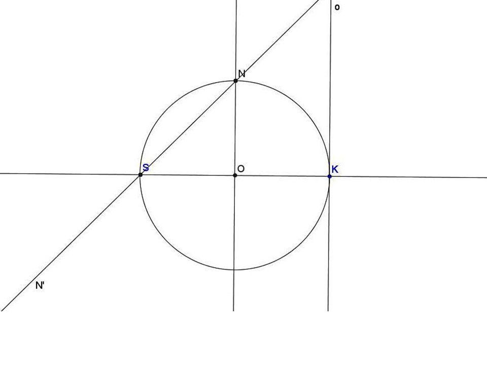 Na kružnici zvolíme několik bodů A, B, C… a zobrazujeme je v dané kolineaci Nejprve zobrazíme bod A; k tomu užijeme nevlastního obrazu N´ bodu N