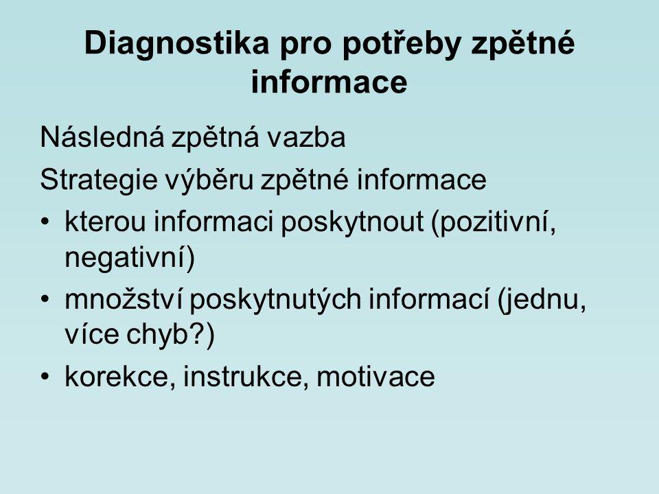 Diagnostika pro potřeby zpětné informace Následná zpětná vazba Strategie výběru zpětné informace kterou informaci poskytnout (pozitivní, negativní) mn