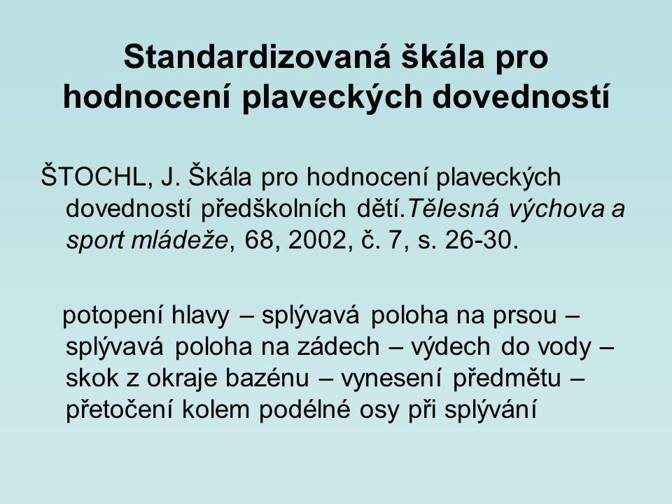 Standardizovaná škála pro hodnocení plaveckých dovedností ŠTOCHL, J. Škála pro hodnocení plaveckých dovedností předškolních dětí.Tělesná výchova a spo