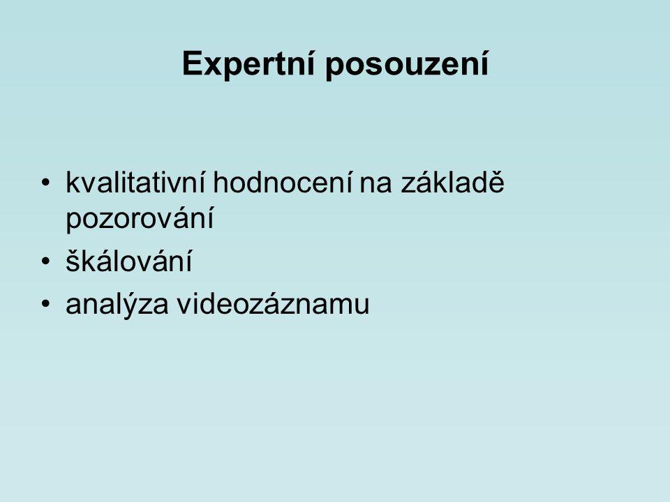 Expertní posouzení kvalitativní hodnocení na základě pozorování škálování analýza videozáznamu