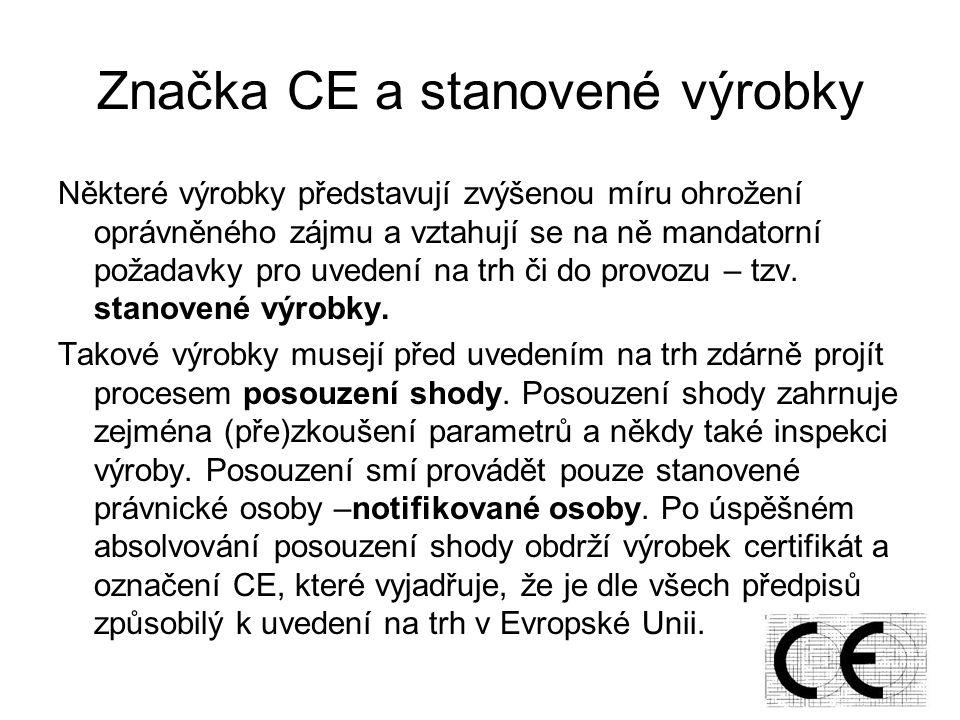 Značka CE a stanovené výrobky Některé výrobky představují zvýšenou míru ohrožení oprávněného zájmu a vztahují se na ně mandatorní požadavky pro uvedení na trh či do provozu – tzv.