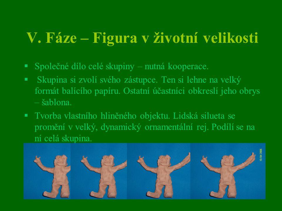 V. Fáze – Figura v životní velikosti  Společné dílo celé skupiny – nutná kooperace.  Skupina si zvolí svého zástupce. Ten si lehne na velký formát b