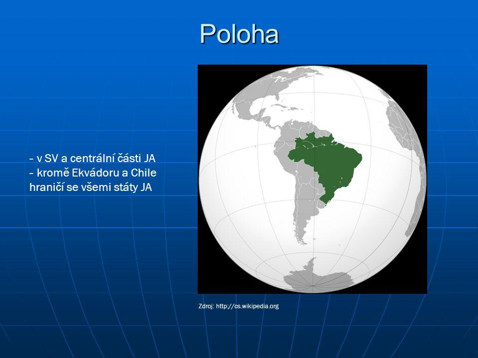 Poloha - v SV a centrální části JA - kromě Ekvádoru a Chile hraničí se všemi státy JA