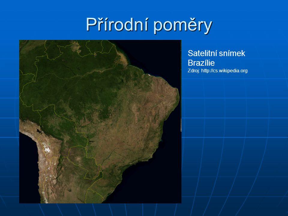 Přírodní poměry Satelitní snímek Brazílie Zdroj: http://cs.wikipedia.org