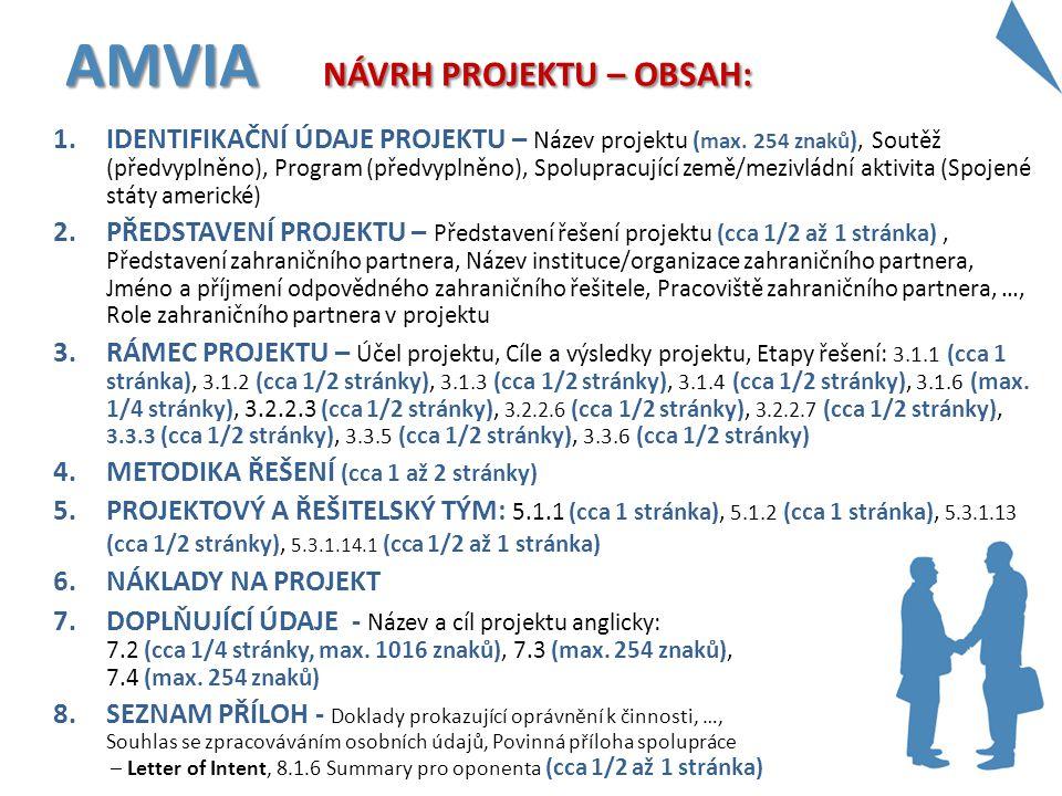 1.IDENTIFIKAČNÍ ÚDAJE PROJEKTU – Název projektu ( max. 254 znaků ), Soutěž (předvyplněno), Program (předvyplněno), Spolupracující země/mezivládní akti