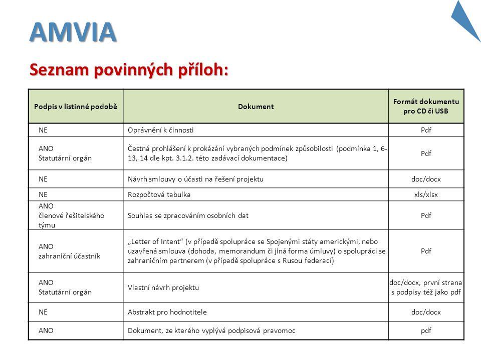 AMVIA Podpis v listinné podoběDokument Formát dokumentu pro CD či USB NEOprávnění k činnostiPdf ANO Statutární orgán Čestná prohlášení k prokázání vyb