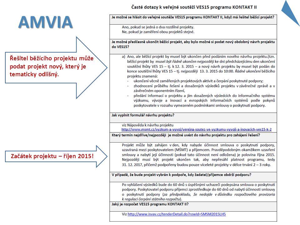 AMVIA http://www.msmt.cz/vyzkum-a-vyvoj/verejna-soutez-ve-vyzkumu-vyvoji-a-inovacich-ves15-k-2 Začátek projektu – říjen 2015! Řešitel běžícího projekt