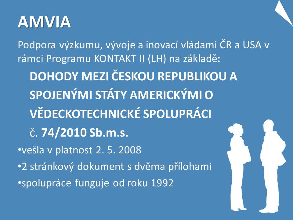 AMVIA Podpora výzkumu, vývoje a inovací vládami ČR a USA v rámci Programu KONTAKT II (LH) na základě: DOHODY MEZI ČESKOU REPUBLIKOU A SPOJENÝMI STÁTY